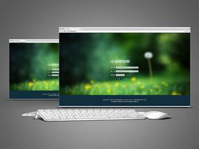 绿色网站登录界面设计 PSD