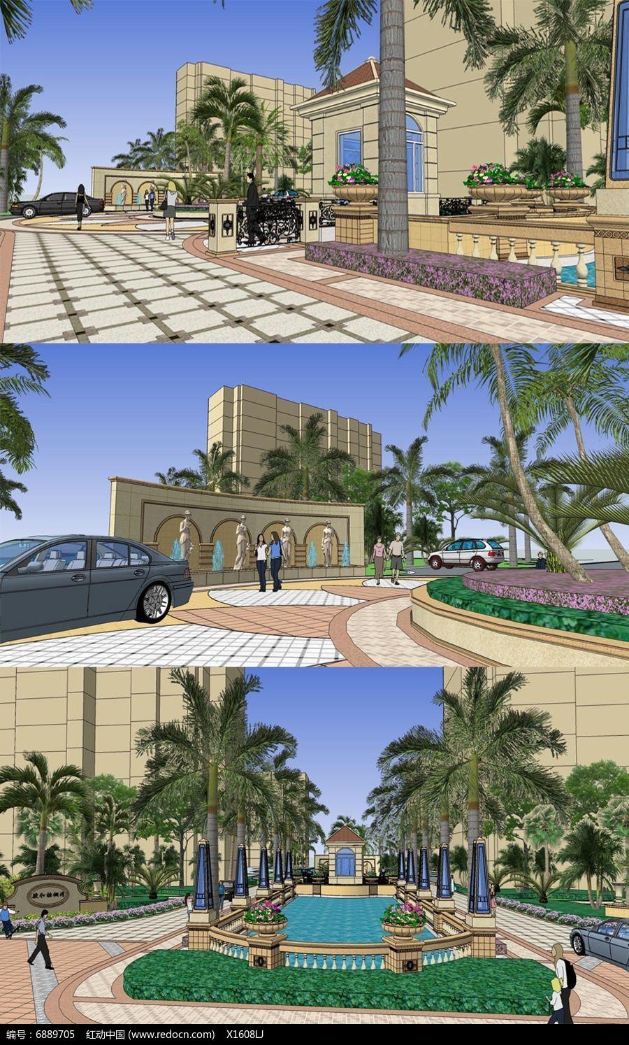 欧式住宅小区入口景观设计模型图片