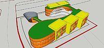 三墩北小学幼儿园3D模型建筑
