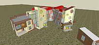 现代风格幼儿园3D模型
