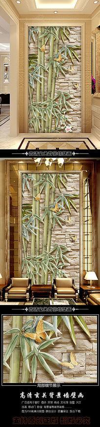简约创意手绘竹子玄关背景墙