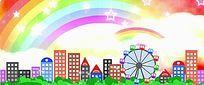 唯美彩虹城市爱情卡通背景视频