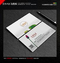 中式典雅荷花水墨名片设计