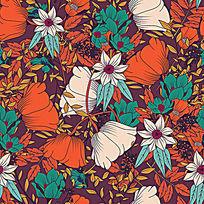 彩色花朵的图案设计AI矢量素材