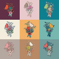 彩色花卉海报设计AI矢量素材