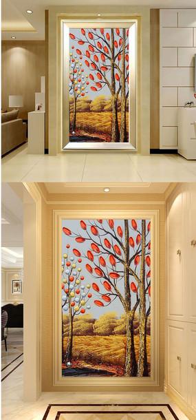 抽象手绘树木油画田园风玄关门厅壁画