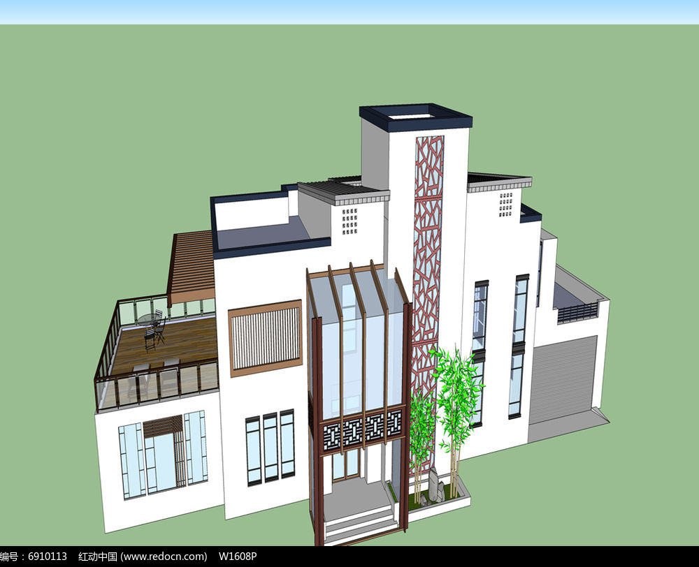 原创设计稿 3d模型库 建筑 复杂结构别墅  请您分享: 素材描述:红动网