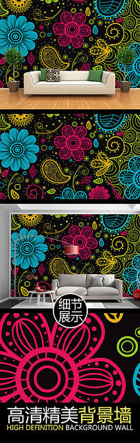 手绘线描时尚花纹装饰图案背景墙
