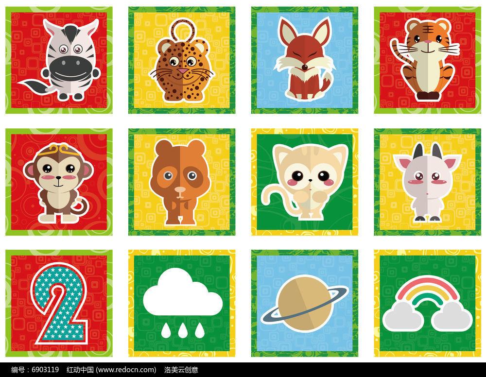 卡通动物标签贴纸图片