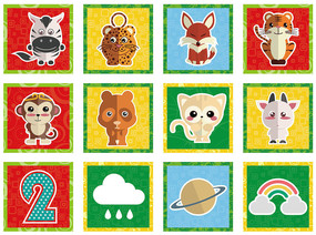 卡通动物标签贴纸
