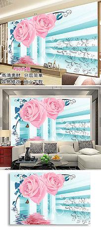 立体扩展空间玫瑰花倒影电视背景墙图片