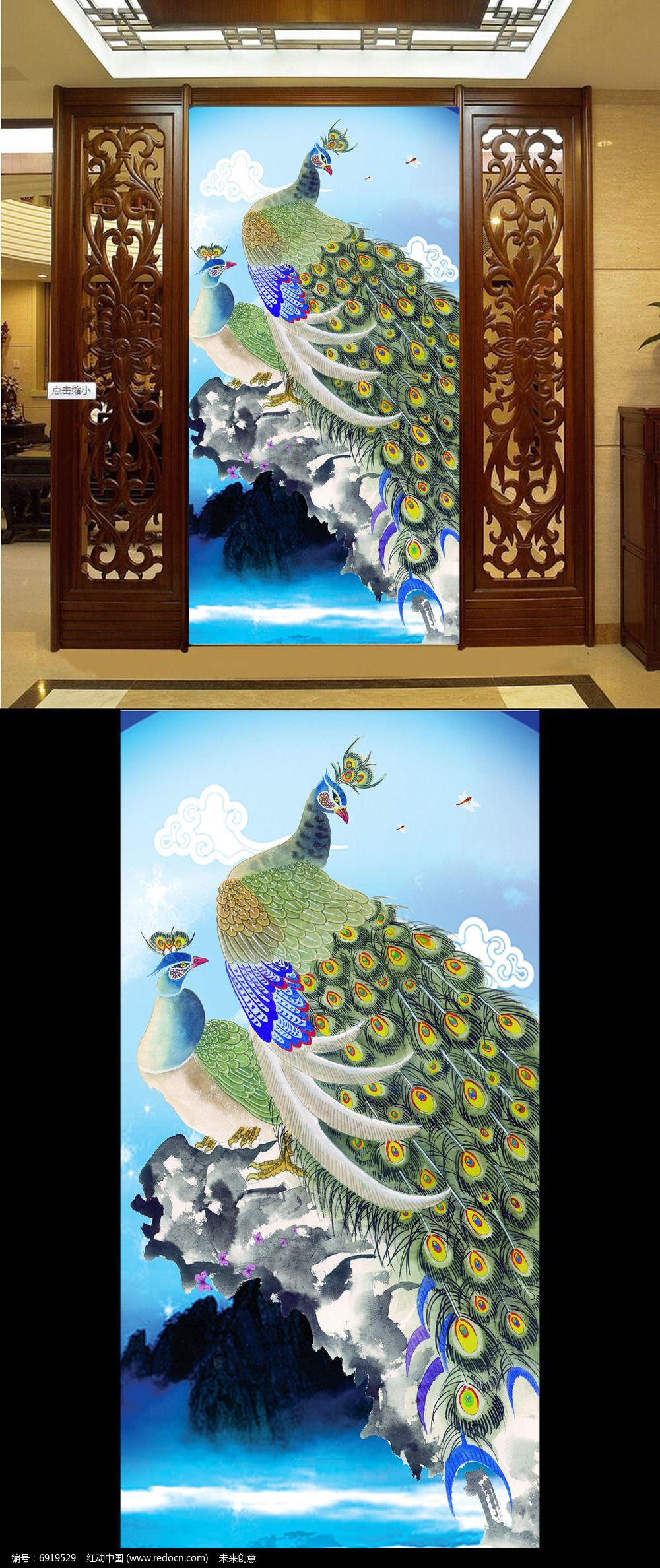 绿孔雀工笔画蓝色背景玄关