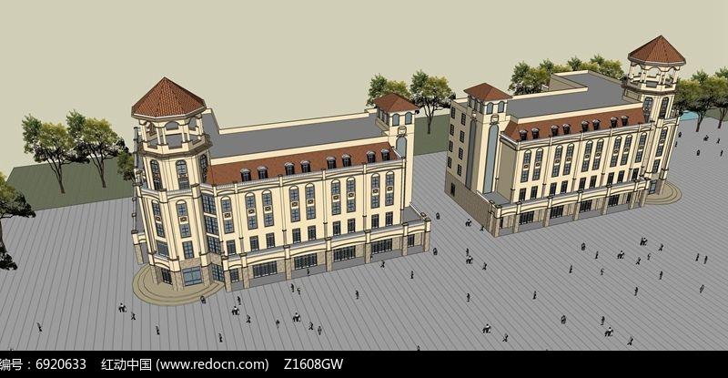 欧式商业街素材下载_建筑设计图片