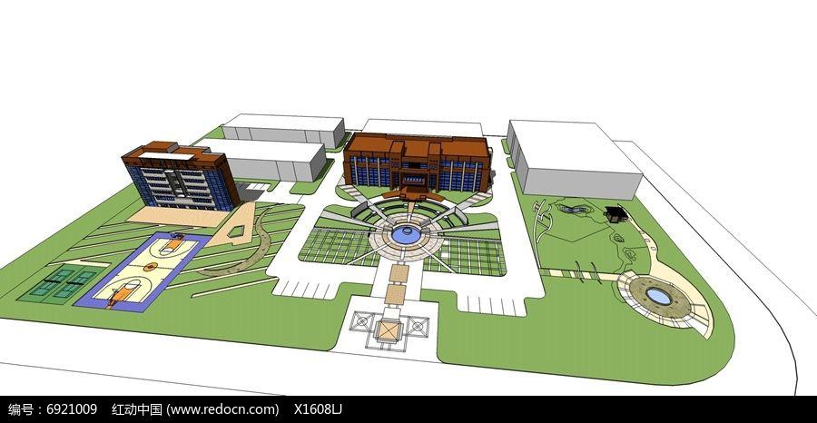 校园图书馆广场设计skp素材下载_景观全模设计图片
