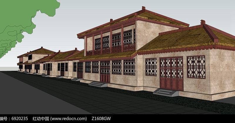 中式商业街建筑skp素材下载_建筑设计图片图片