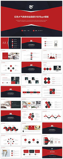 红色大气商务创业融资计划书ppt模板