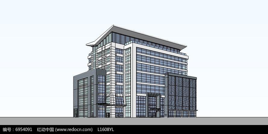 现代办公建筑SketchUp模型skp素材下载 编号6954091 红动网