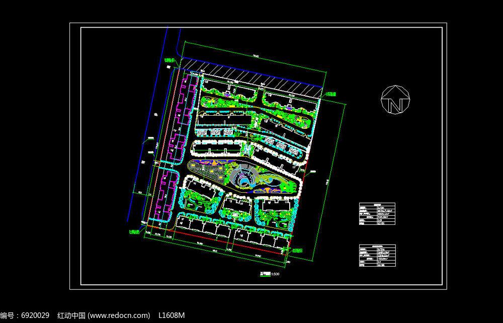小型小区平面图dwg素材下载_植物设计图片
