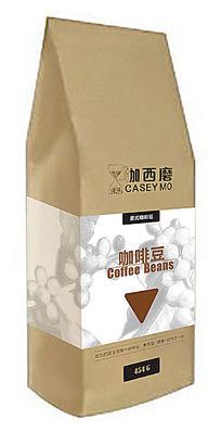 白色印刷1磅454克装立式牛皮纸咖西磨意式咖啡豆包装袋设计