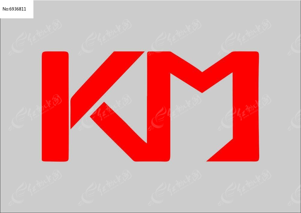 简洁大气km字母logo设计