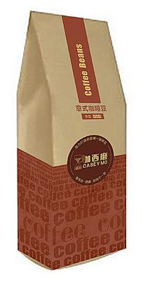 咖啡色1磅454克装立式牛皮纸咖西磨意式咖啡豆包装袋设计