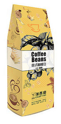 深黄色1磅454克装立式咖西磨意式咖啡豆包装袋设计