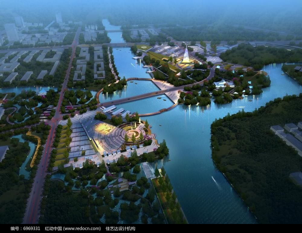 滨河广场夜景鸟瞰图