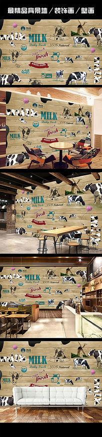 复古牛奶手绘餐厅背景墙装饰画