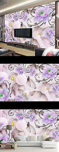 梦幻紫色玫瑰花朵时尚壁画电视背景墙