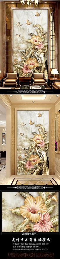 手绘高清石头花卉玄关背景墙