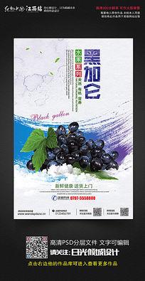 水彩风黑加仑水果宣传促销海报设计