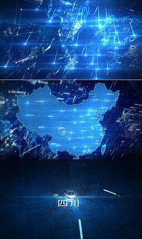 震撼商务片头地图展示企业分布中国地图会声会影x8