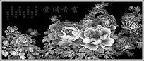 花开富贵灰度图