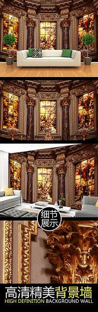 华丽欧式宫殿名画装饰背景墙