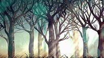 浪漫粒子光斑森林背景视频