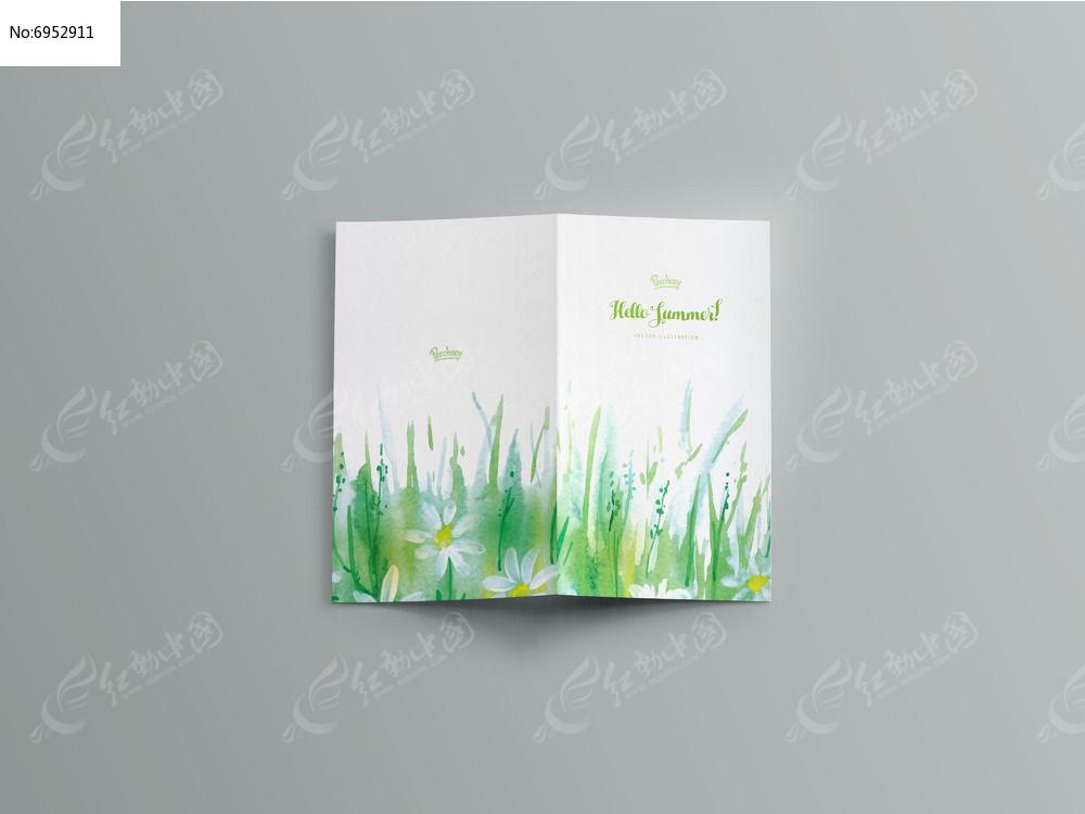 小清新草地封面设计图片