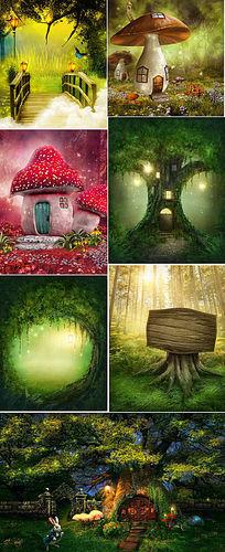背景墙梦幻森林背景风景图片JPG格式下载