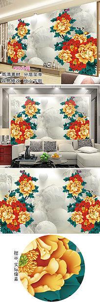 彩雕牡丹花中式电视背景墙壁画图片