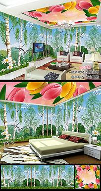 创意树林大自然风景全屋主题空间背景墙图片