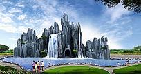 公园大型水景假山景观