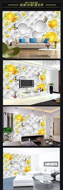 立体皮革玫瑰花纹电视背景墙