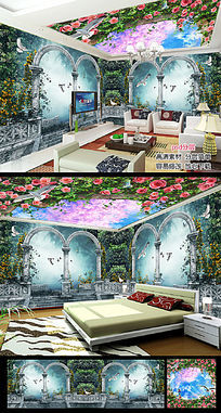 梦幻温馨清新树林客厅立体空间背景墙墙纸