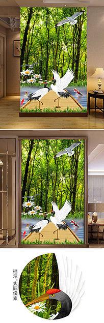 清新森林风景玄关移门图片