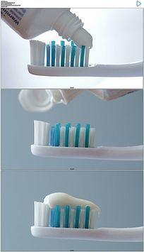 实拍挤牙膏在牙刷上视频素材 mov
