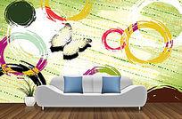 手绘时尚图案背景墙