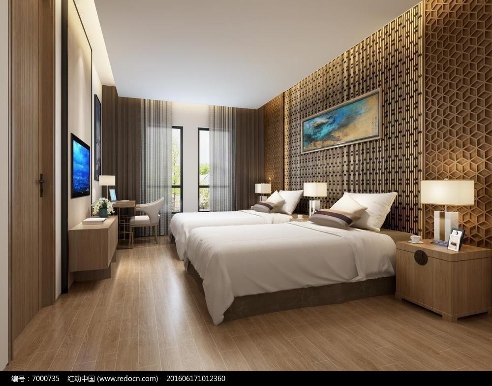 新中式客房电视柜标间台灯图片