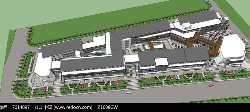 简中式商业街skp素材下载_建筑设计图片图片