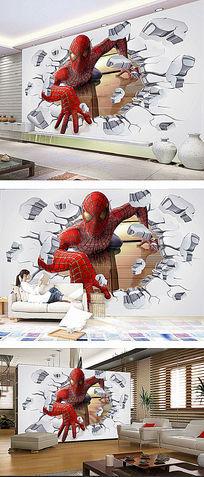 3D立体蜘蛛侠背景墙