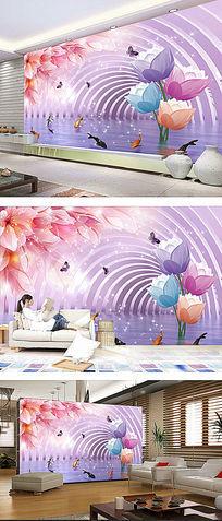 3D梦幻时尚花朵电视背景墙