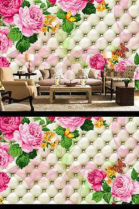 3D软包玫瑰花电视背景墙